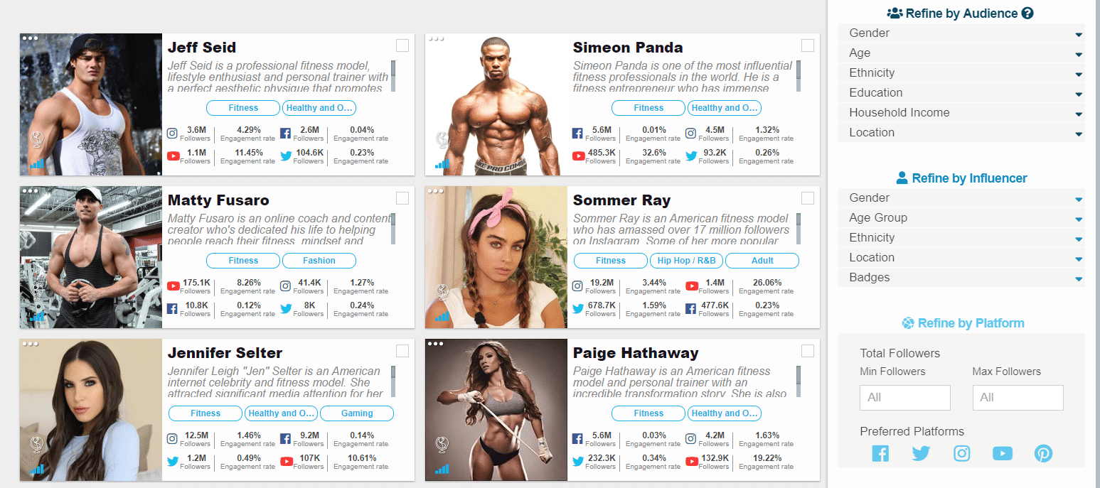 You can filter the results by a wide choice of demographics.