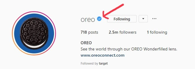 Oreo verified badge on Instagram