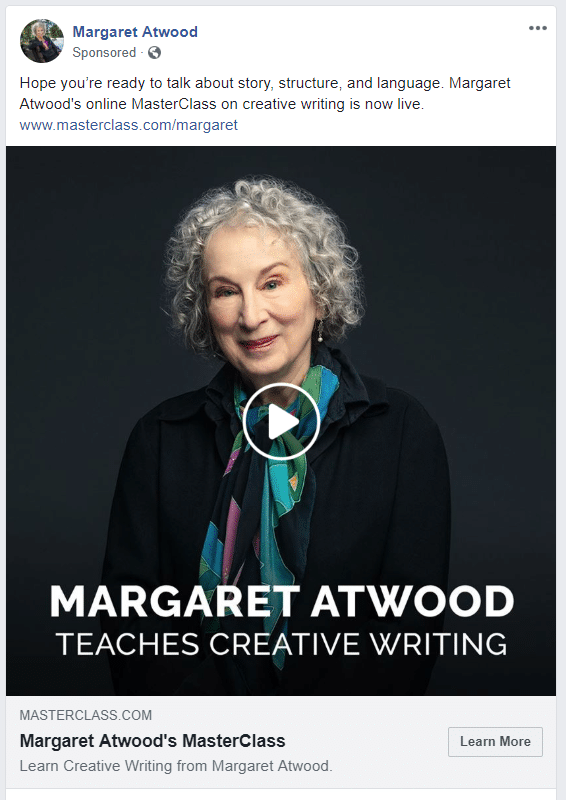 Facebook video ad example, Margaret Atwood MasterClass