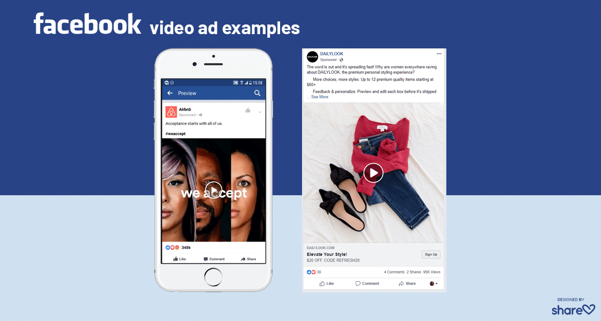 Facebook Feed Video Examples on mobile and desktop