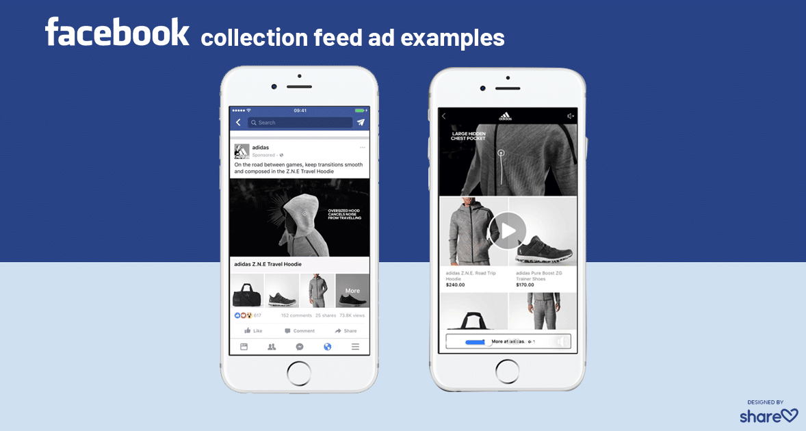 Examples of Facebook feed Collection ads