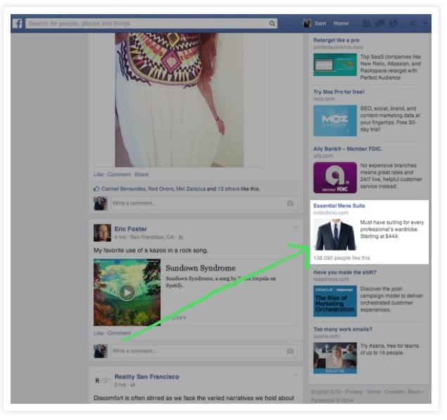 Facebook right column ad example