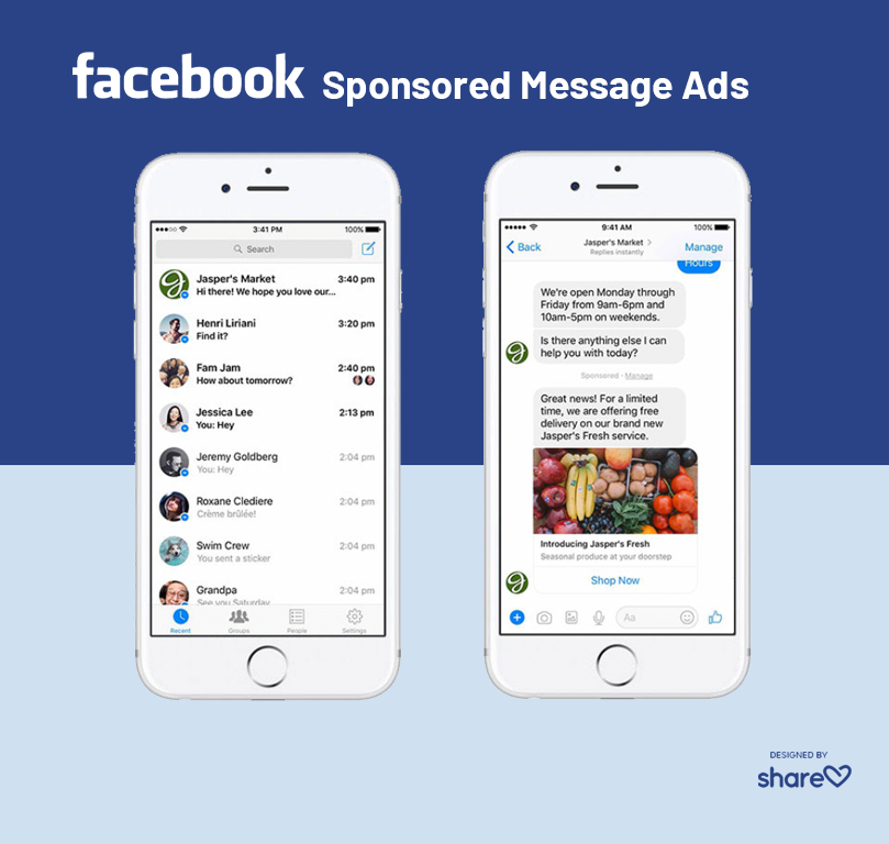 Examples of sponsored message ads in Facebook