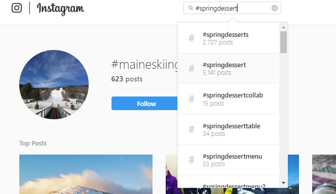 IG hashtag search example