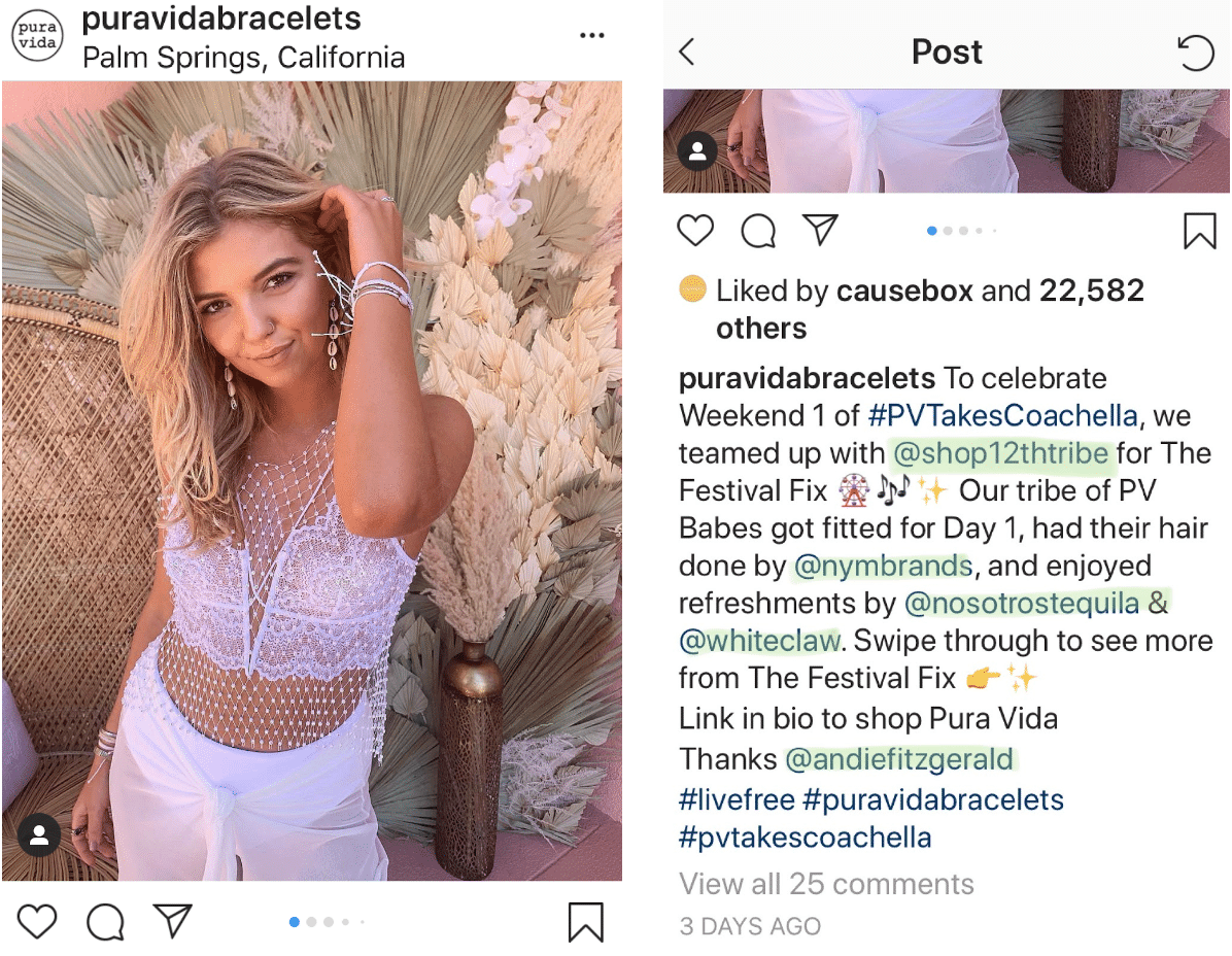 we've highlighted the use of mentions in a Puravidabracelets post