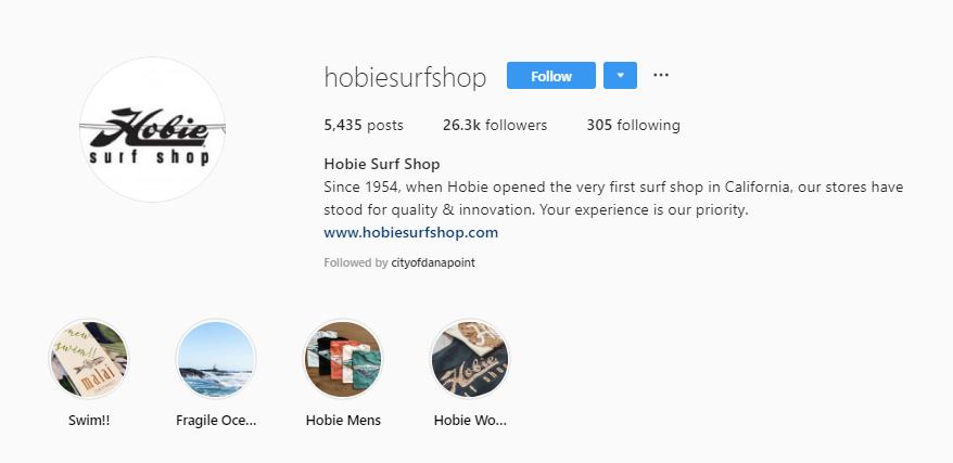 Hobie Surf Instagram Stories Highlights