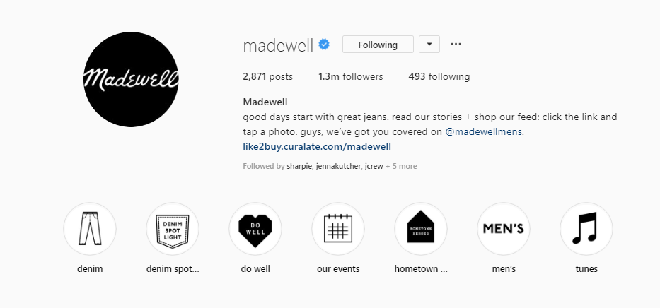 Madewell Instagram Stories Highlights