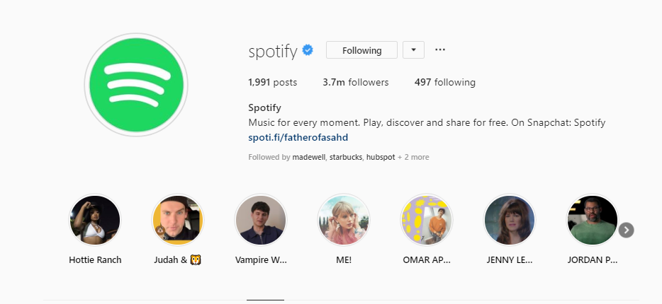 Spotify Instagram Stories Highlights