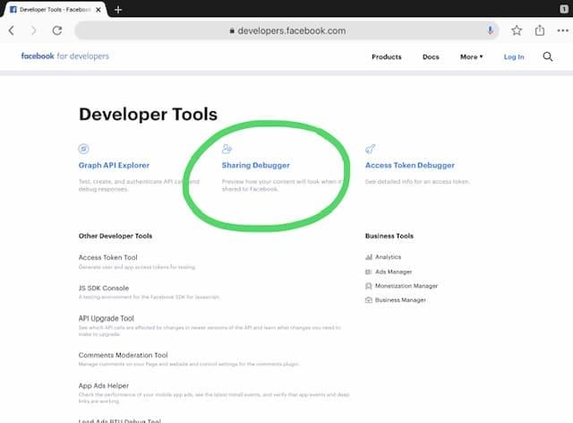 Sharing debugger main page
