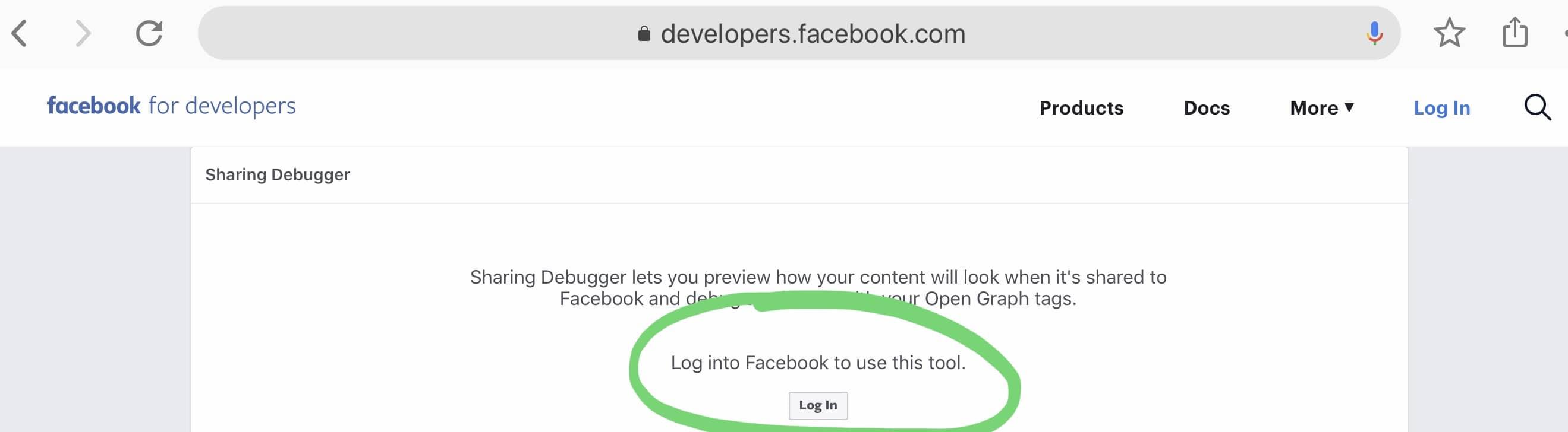 Login to Facebook Developer for Debugger