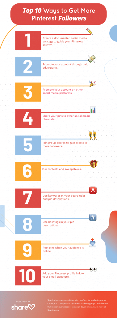 Top 10 Ways to Get More Pinterest Followers infographic