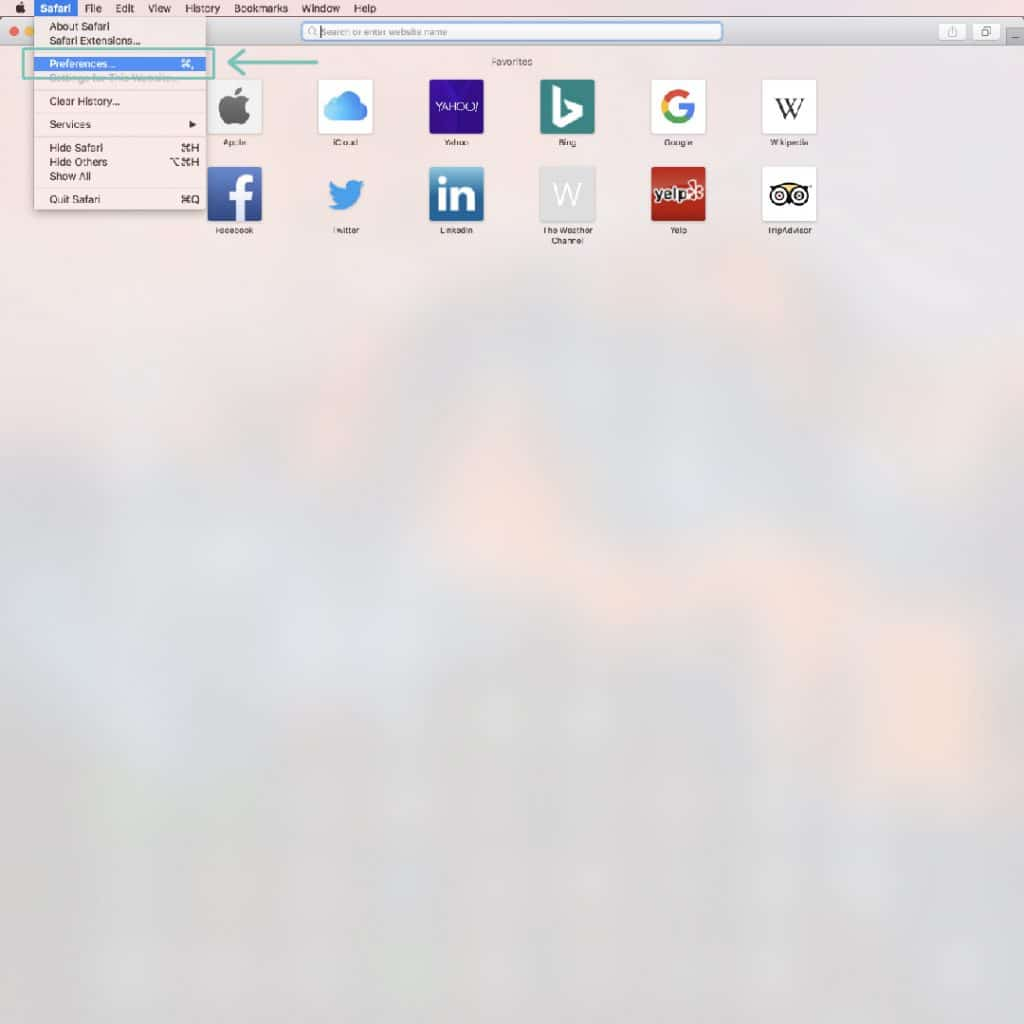 """Open your Safari browser and click """"preferences."""""""