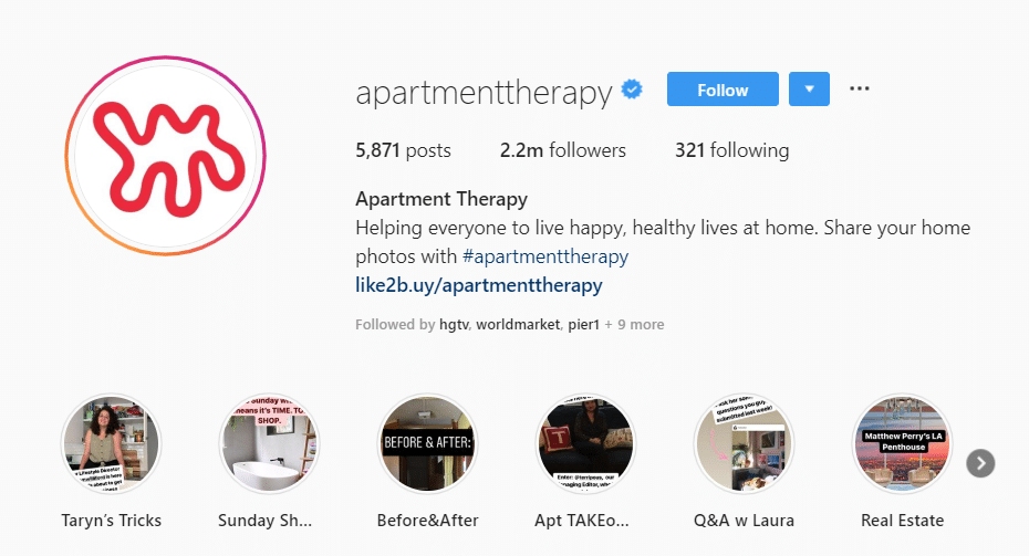 CTA in bio example apartment therapy