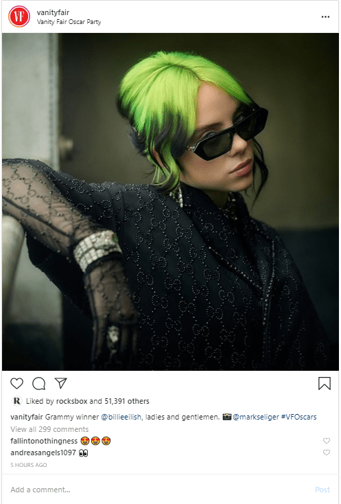 Vanity fair instagram Grammy winnerbillieeilish
