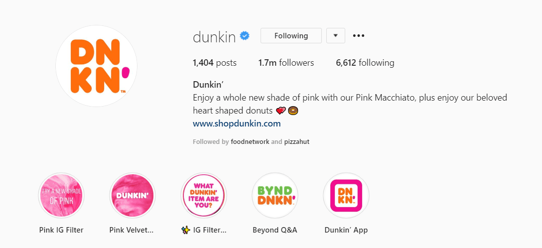 dunkin donuts instagram bio example