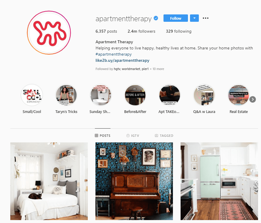 apartment therapy instagram profile example