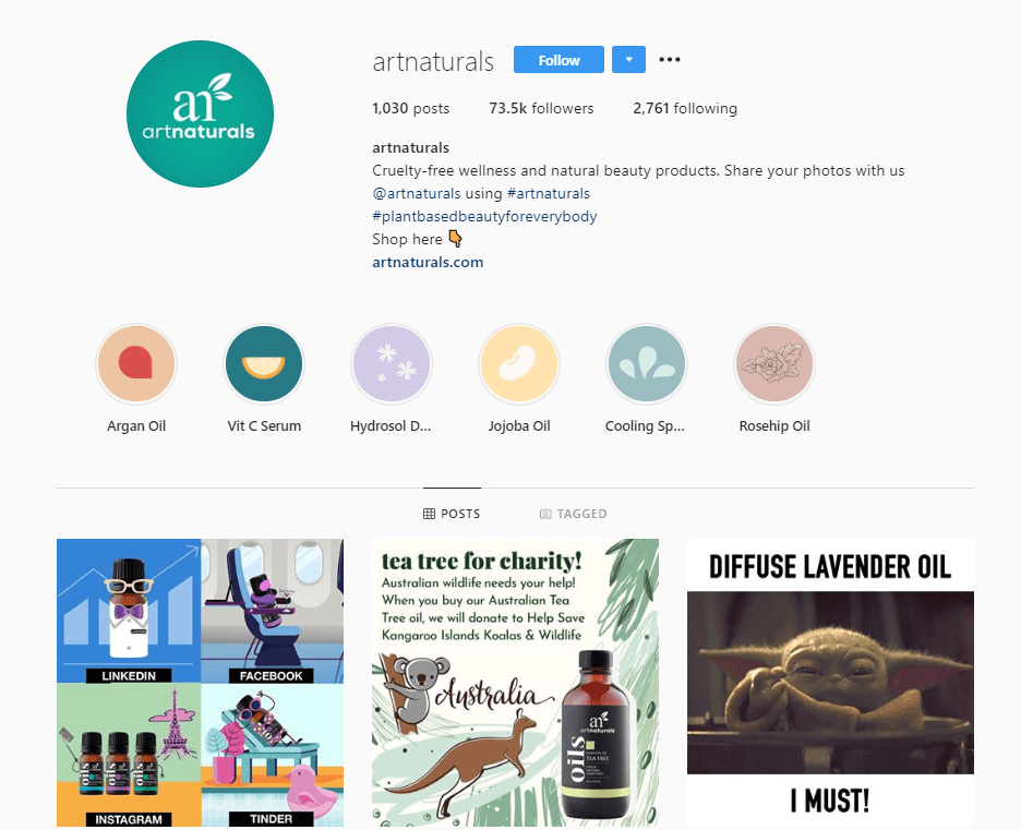 art naturals instagram profile example