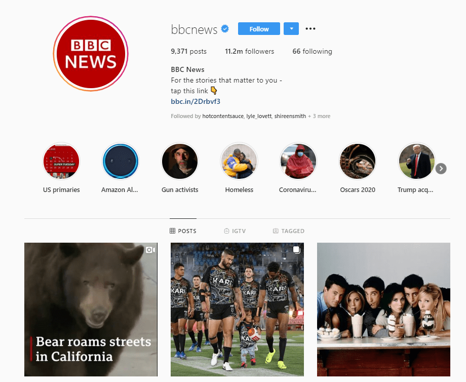 bbc news instagram profile example