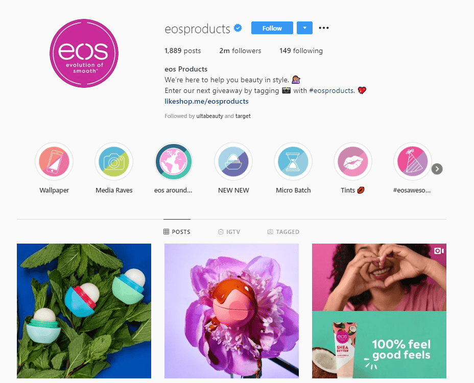 eos products instagram profile example