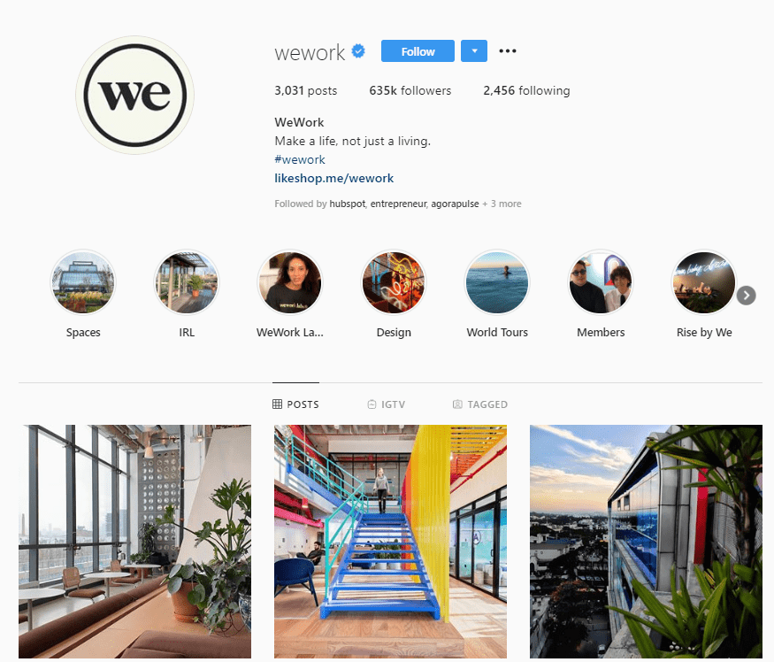 wework instagram profile example