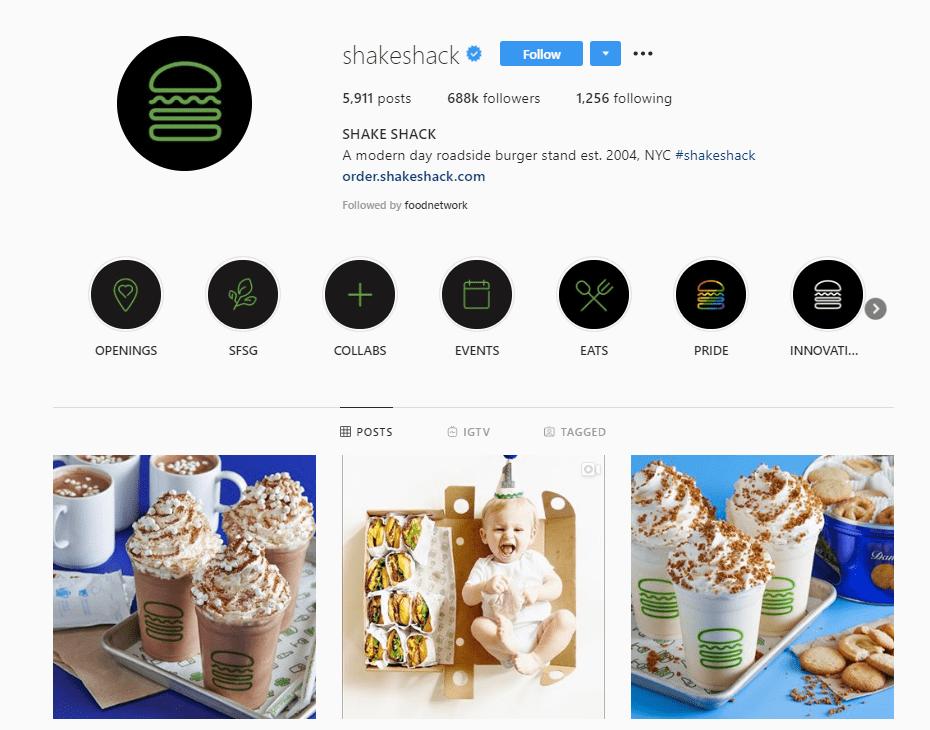 shakeshack instagram bio example