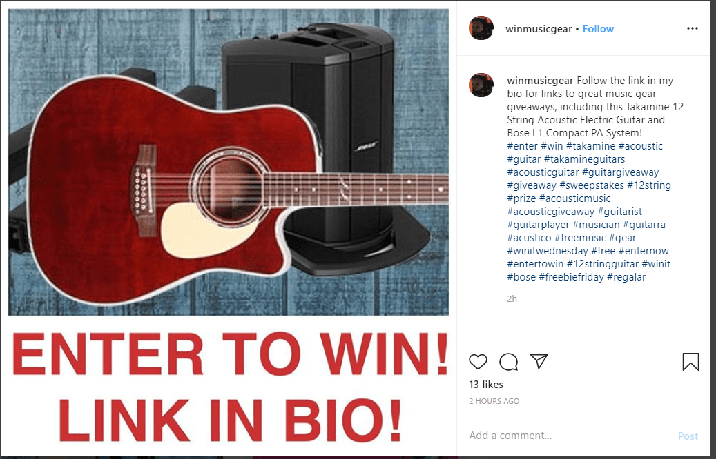 wing music gear instagram bio