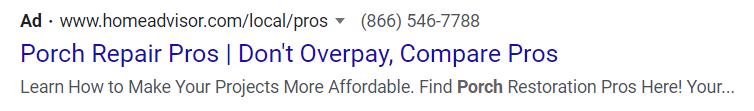 Google Ads CTA example