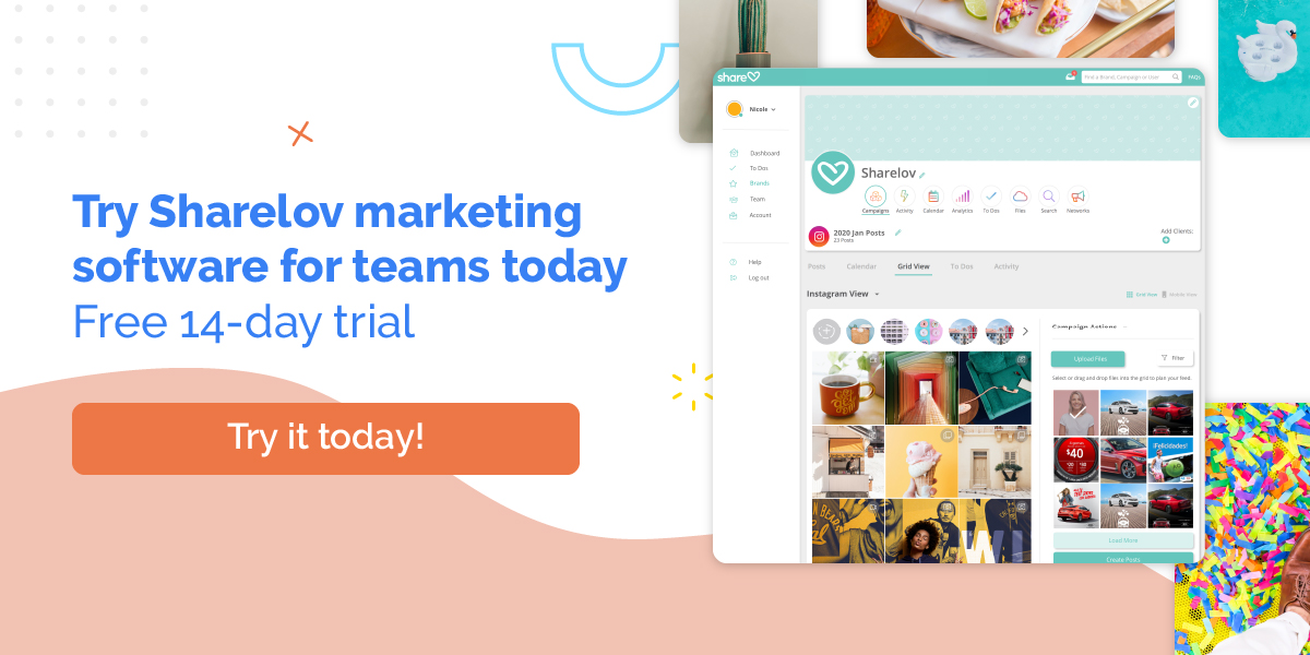 Try Sharelov marketing software for teams today