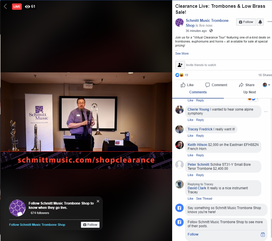 Facebook Live event sale example