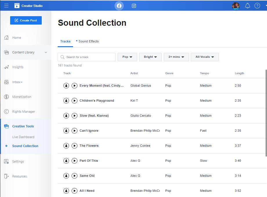 Facebook Creator Studio sound library example