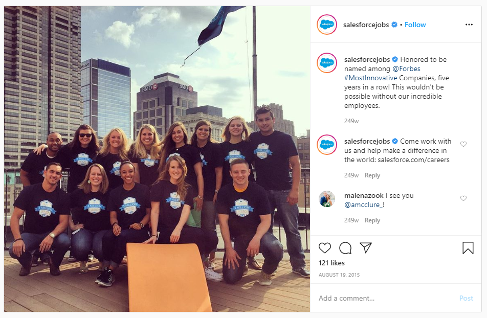 sales force jobs on instagram