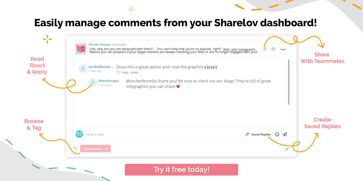 Easily manage Instagram comments from your Sharelov dashboard