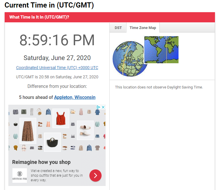 UTC time zone tool