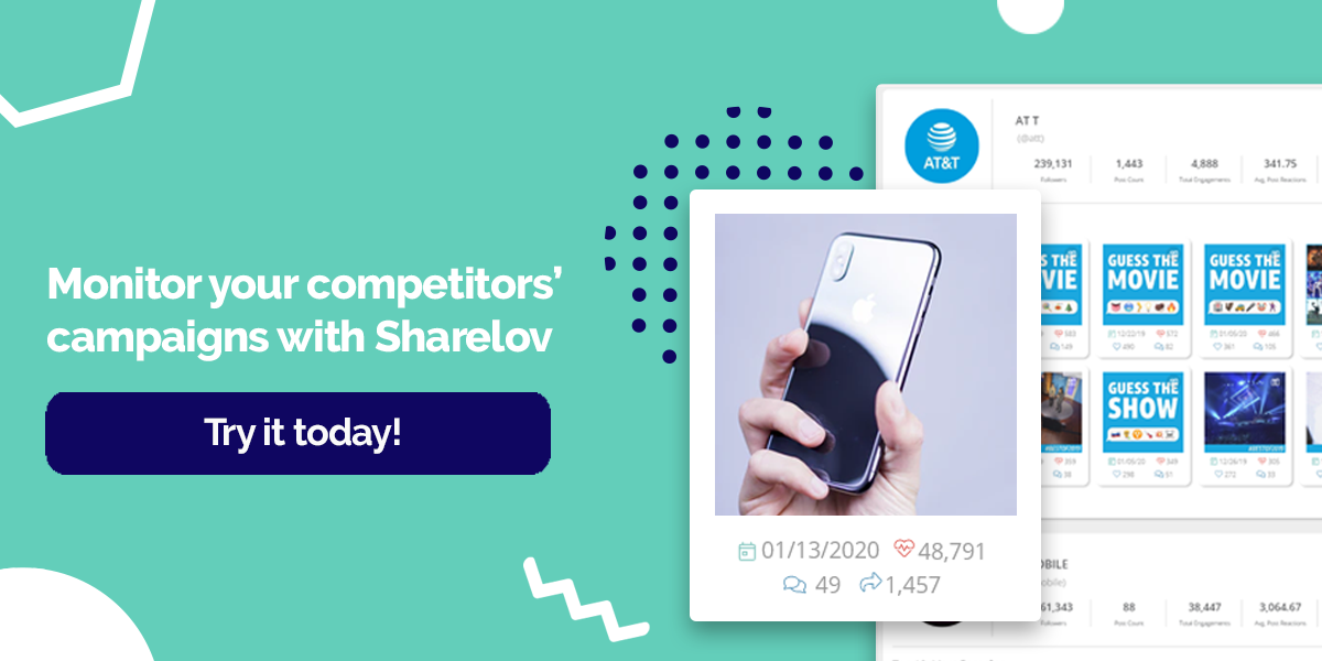 Monitor your competitors' campaigns with Sharelov Try it today