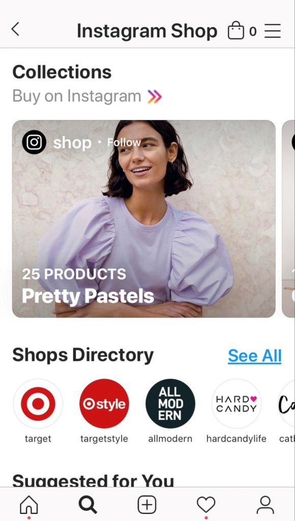 Instagram Store example