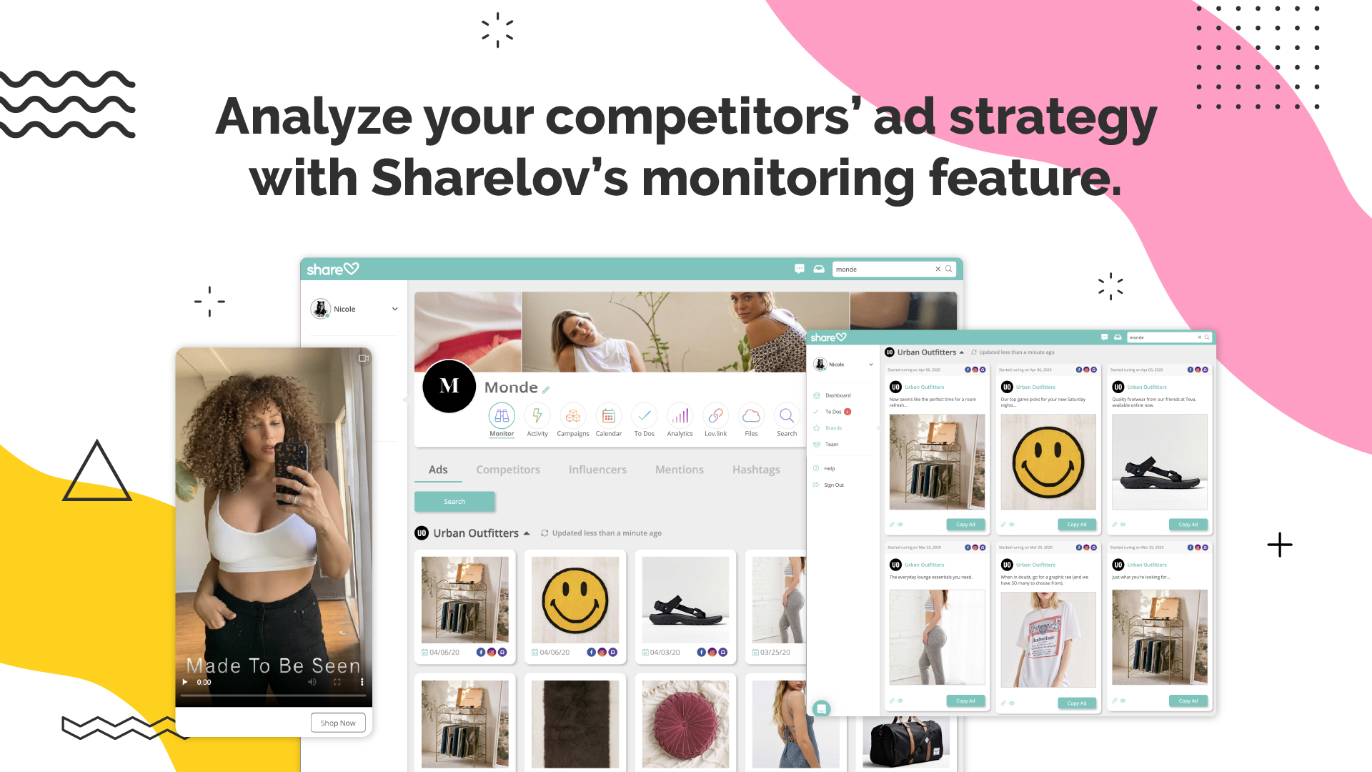 Analyze your competitors' ad strategy with Sharelov's monitoring feature