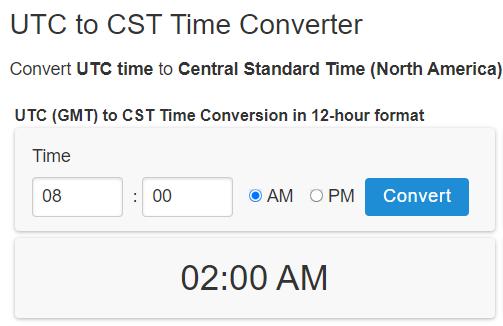 utc time convertor