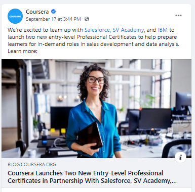 education company coursera example post