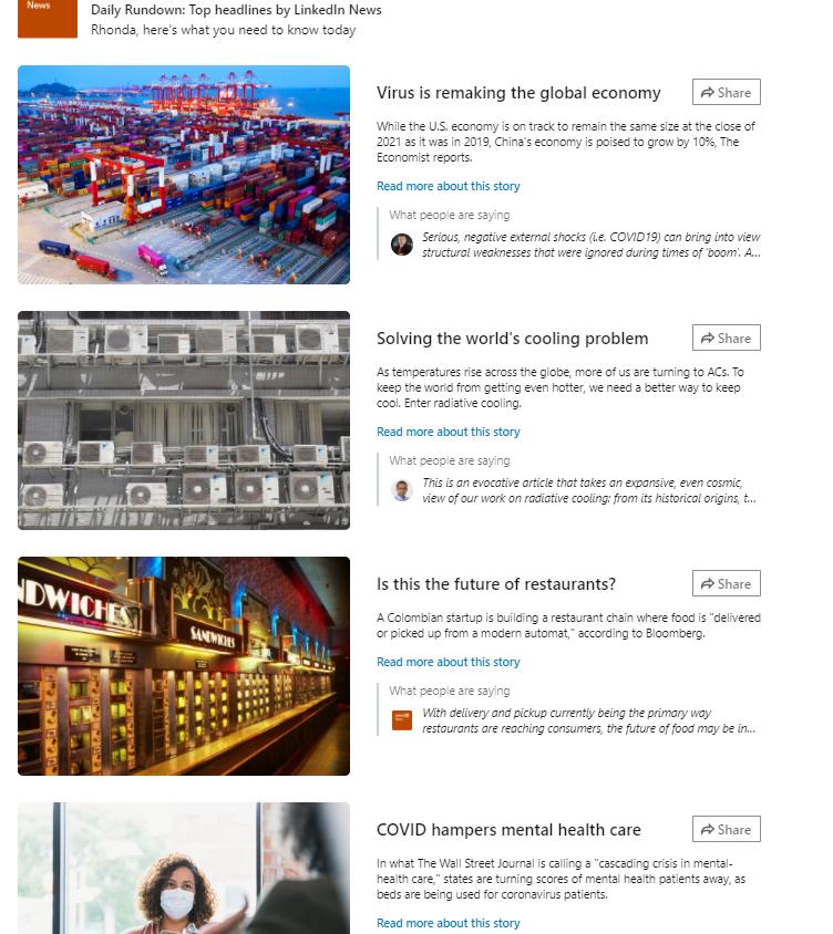 Linkedin news feed example 3