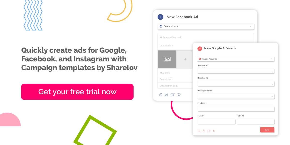 Quickly create ads for Google, Facebook, and Instagram with Campaign templates by Sharelov
