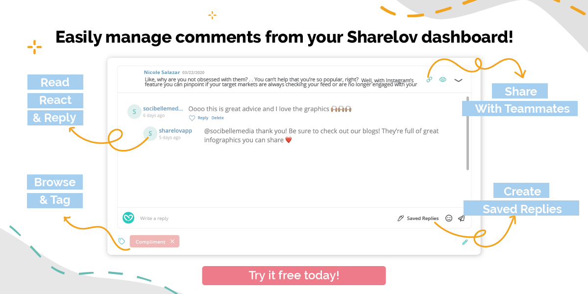 Easily manage comments from your Sharelov dashboard
