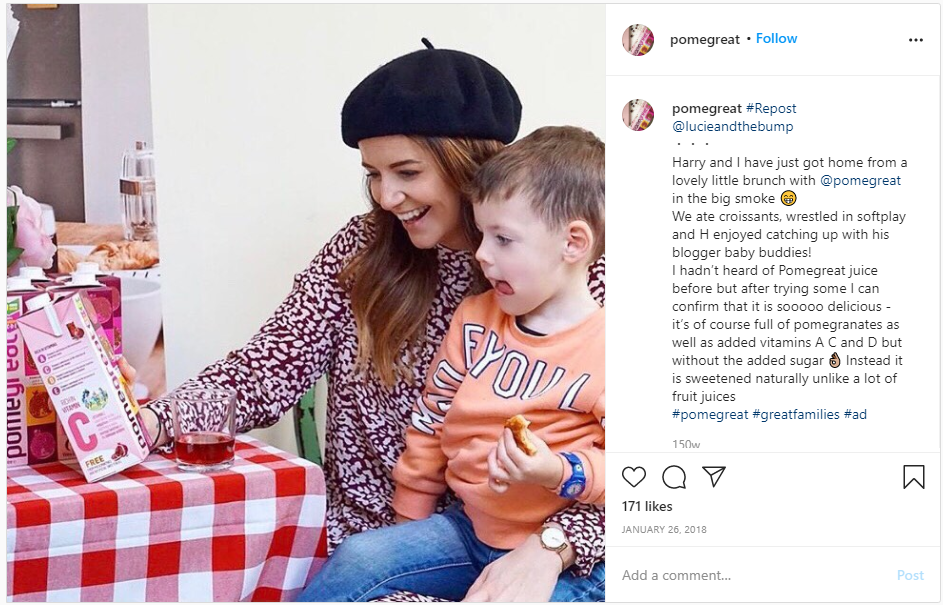 Influencer storytelling example