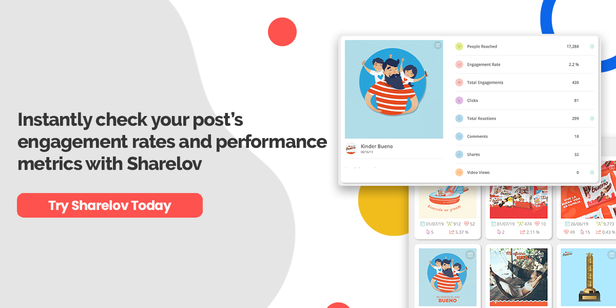 Instantly check your post's engagement rates and performance metrics with Sharelov