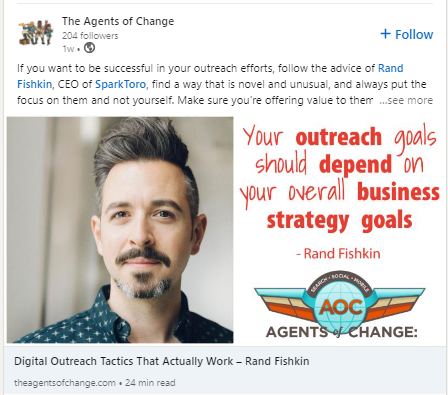 Rand Fishkin Linked Post example