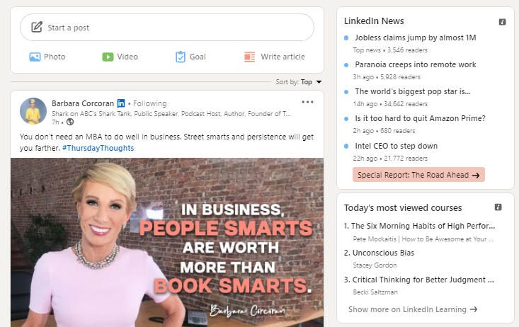 LinkedIn News feed example