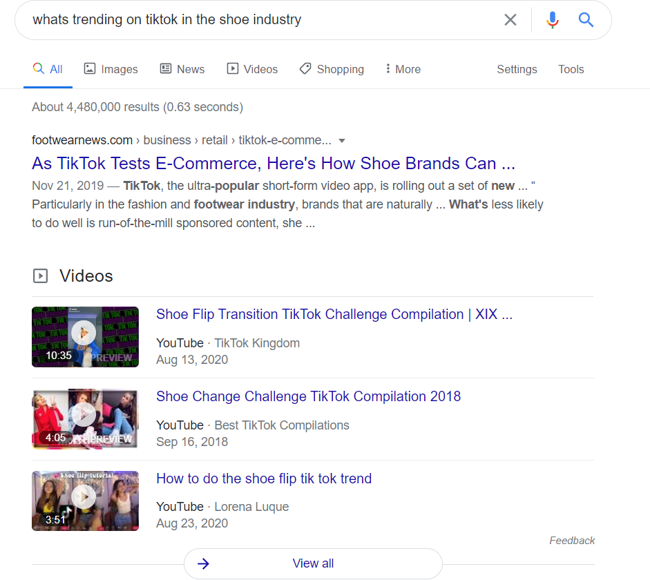 Google searching industry tips for TikTok