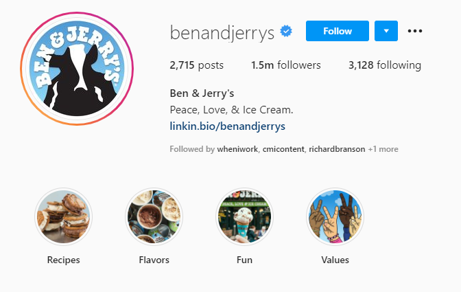 Ben and jerrys Highlights examples