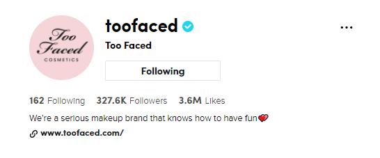 profile example TooFaced on TikTok