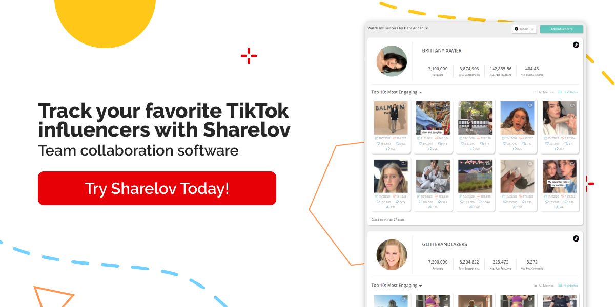 Track your favorite TikTok influencers with Sharelov Team collaboration software