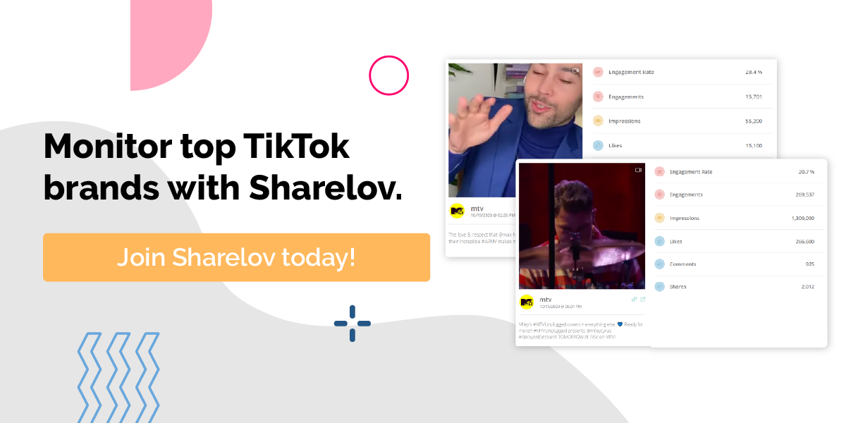 Monitor top TikTok brands with Sharelov.